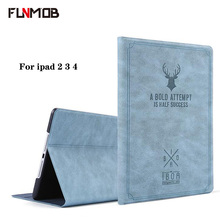 For ipad 2 case retro pattern deer PU leather for ipad 3 4 shell cover Smart Stand for A1458 A1459 A1460 A1403 free shipping цены