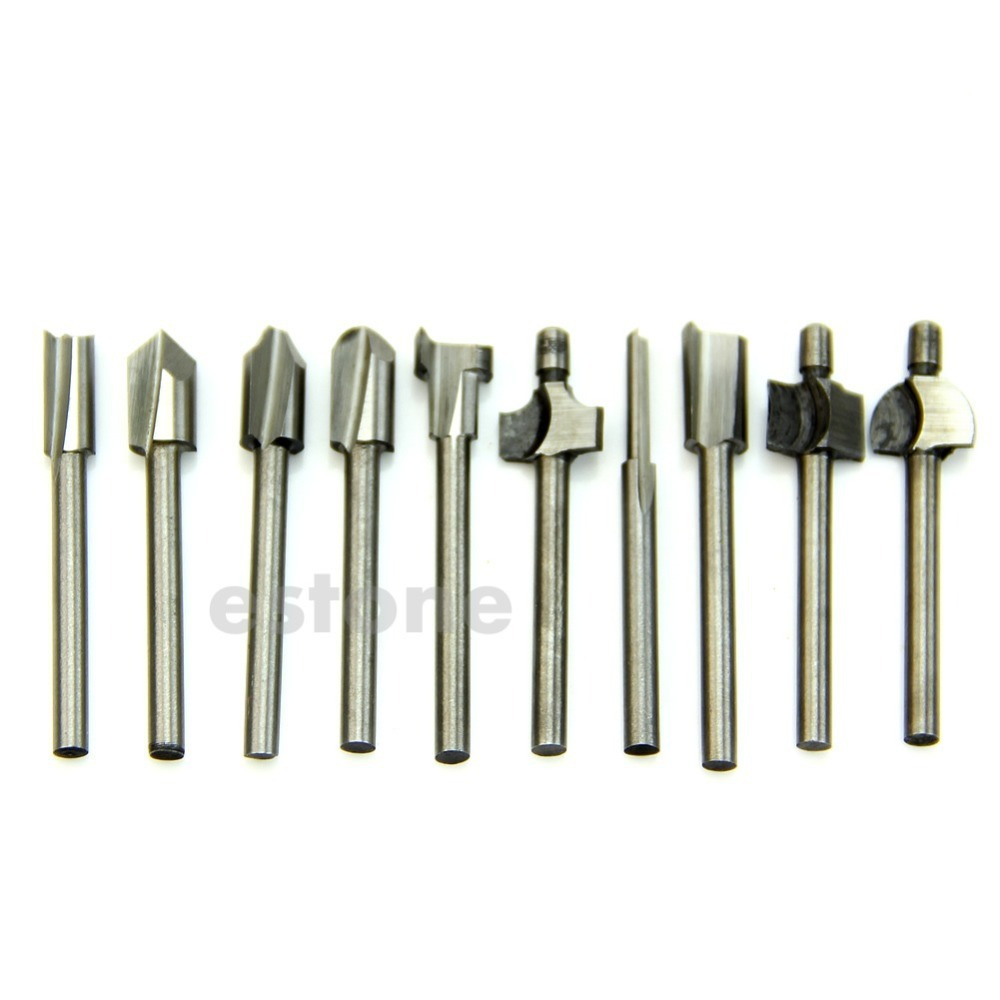 HSS Router Bits Wood Cutter Milling Fits Dremel Rotary Tool Set 10pcs 1/8 3mm  -Y122 free shipping 10pcs 6x25mm one flute spiral cutter cnc router bits engraving tool bits cutting tools wood router bits
