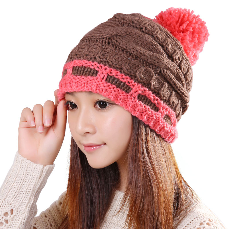 BomHCS Acrylic Simple Women Handmade Knitted Beanie Hat Winter Autumn Thick Warm Crochet Cute Hats Cap bomhcs cute women autumn winter warm thick handmade knit hats beanie cap hat