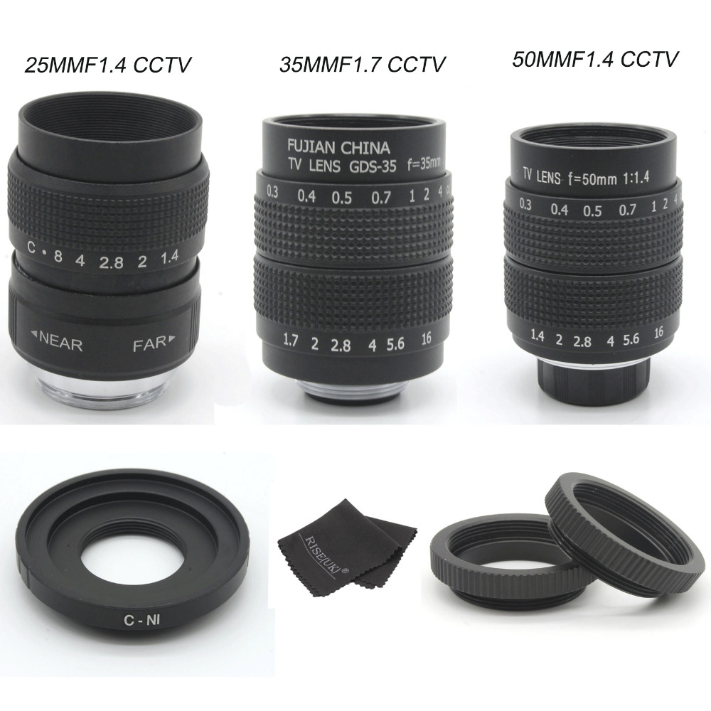 FUJIAN 35mm F1.7 CCTV  camera Lens + 25mm f1.4 camera Lens + 50mmf1.4 camera Lens for  Nikon 1 AW1 S1 S2 J5 J4 J3 J2 J1 V3 V2 V1