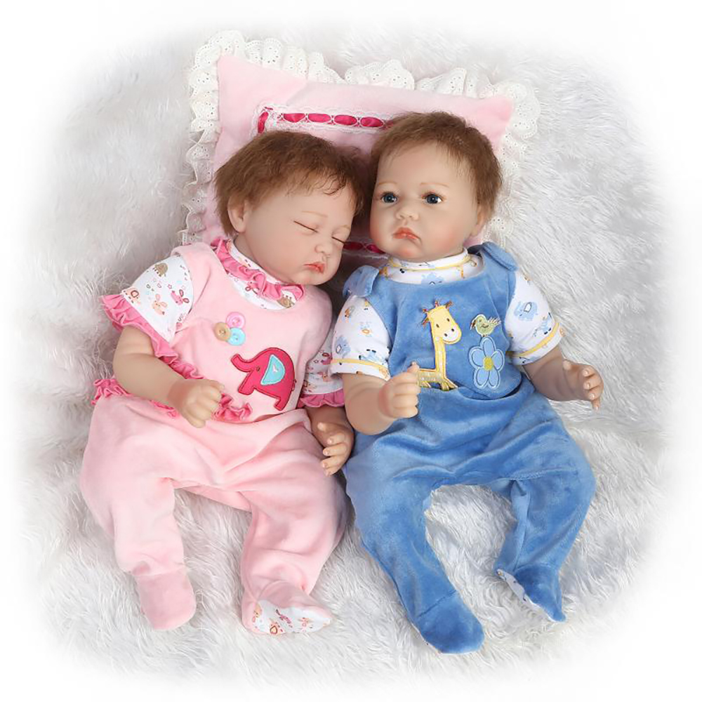 55cm Twin Dolls Soft Silicone Vinyl Reborn Babies Dolls Brinquedos Dolls For Girls Boys Realistic Doll Reborn Kids Gifts