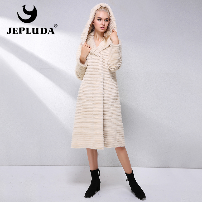 c0ace7dc6 JEPLUDA Hot Sale Real Mink Fur Coat Women Clothes Double Sided With Hood  Real Mink-Rex Rabbit Real Fur Coat Leather Jacket Women | KDExpress
