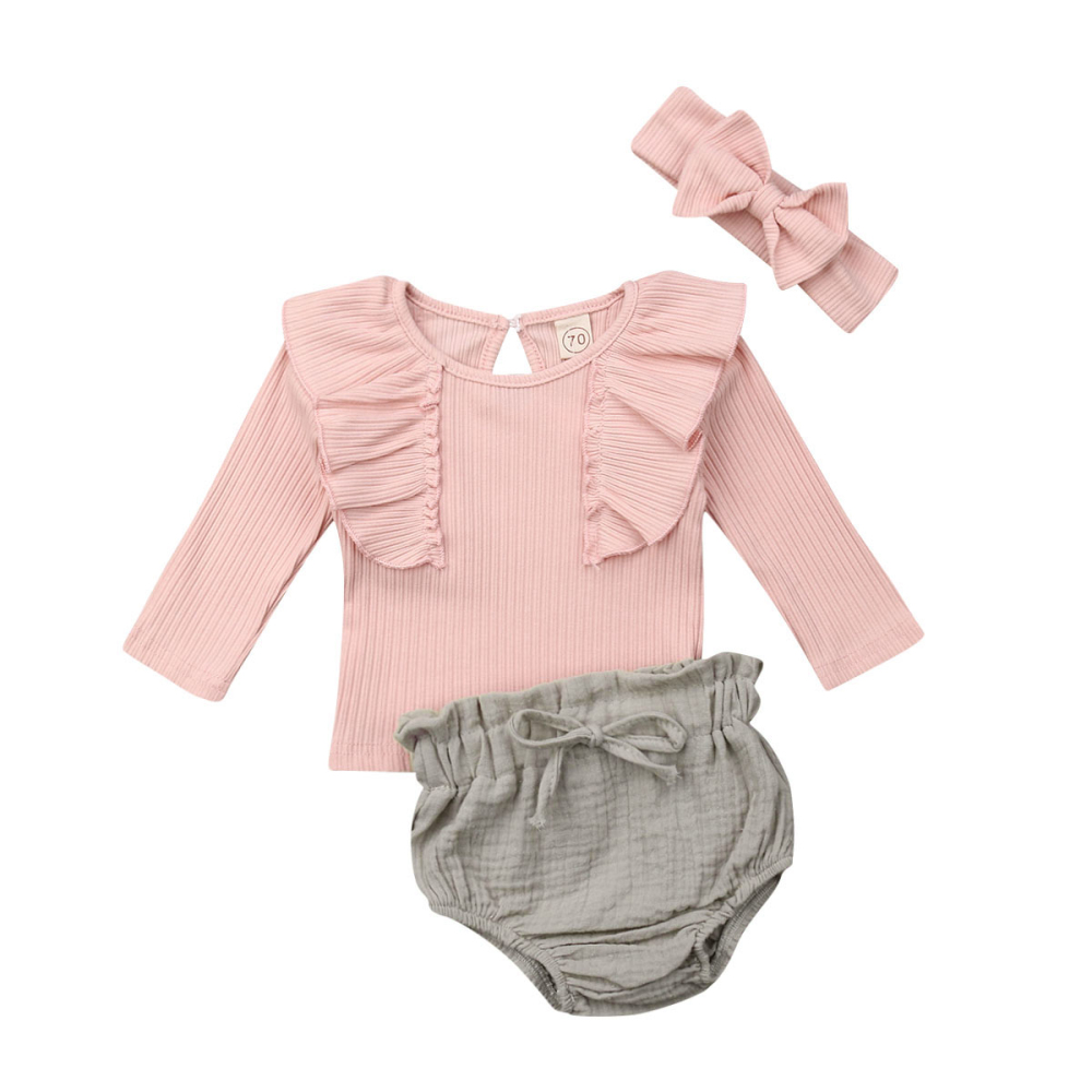 Free Shipping Baby Girl Long Sleeve Cotton Lace Ruffles TOP Tshirt + Bowknot Shorts Clothing Infant Baby Girls Clothes Sets