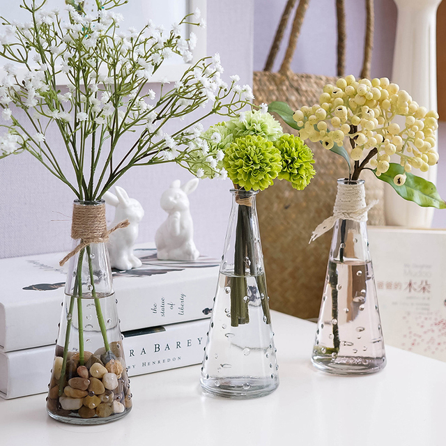 Creative Living Room Decoration Modern Flower Vase Desktop Ornament Clear Glass Bottle Flowers Pot Hydroponic Container