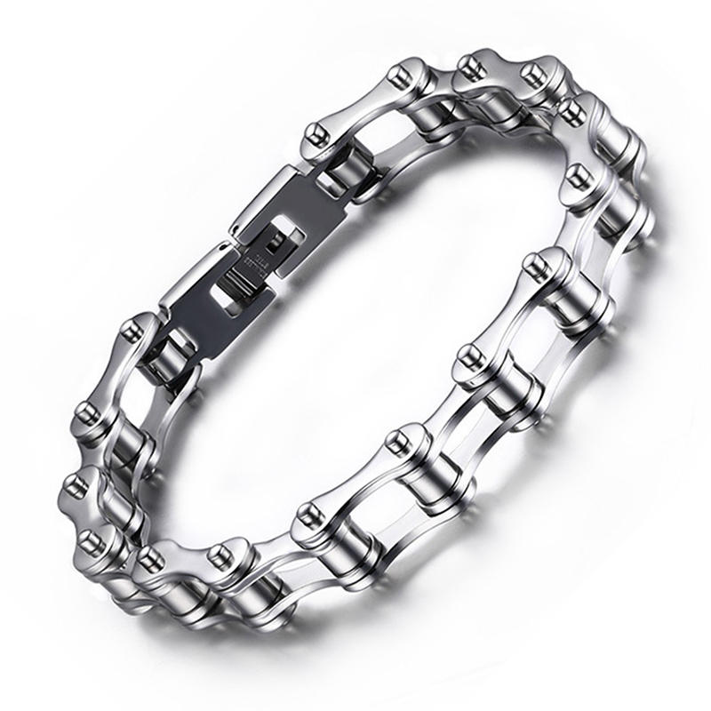 230mm 10mm New Hot Heavy Wide Stainless Steel Bracelet Bicycle Motorcycle Chain Men S Bracelets Bangles