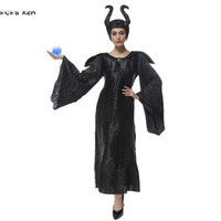 M XXL Woman Black Maleficent Cosplays Halloween Sorceress Witch Queen Costumes Purim Carnival Easter Bar Masquerade party dress