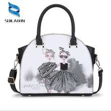 Здесь можно купить  High Quality Women Leather Flower Handbags Ladies Printing Floral Large Cartoon Trapeze Tote Bag Female Shoulder Bags Bolas