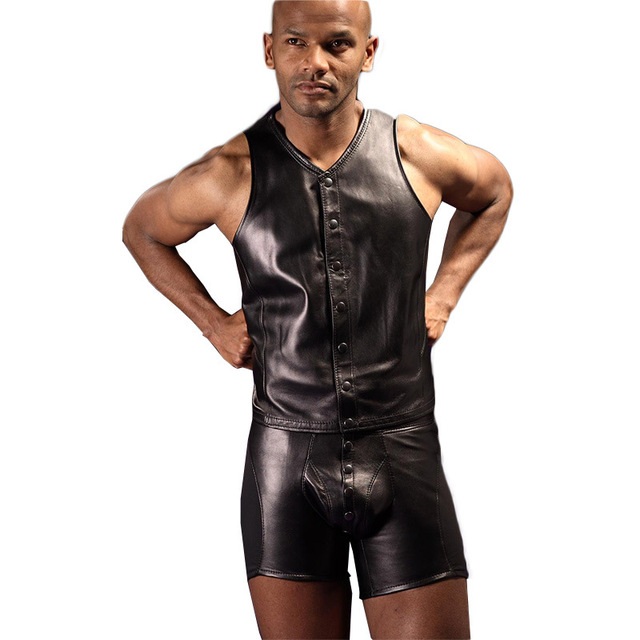 5c5eca73e55 Sexy Men Black PU Leather Leotard Costumes Latex Catsuit Dance Romper  Clubwear Body Suits PVC Fetish Costumes