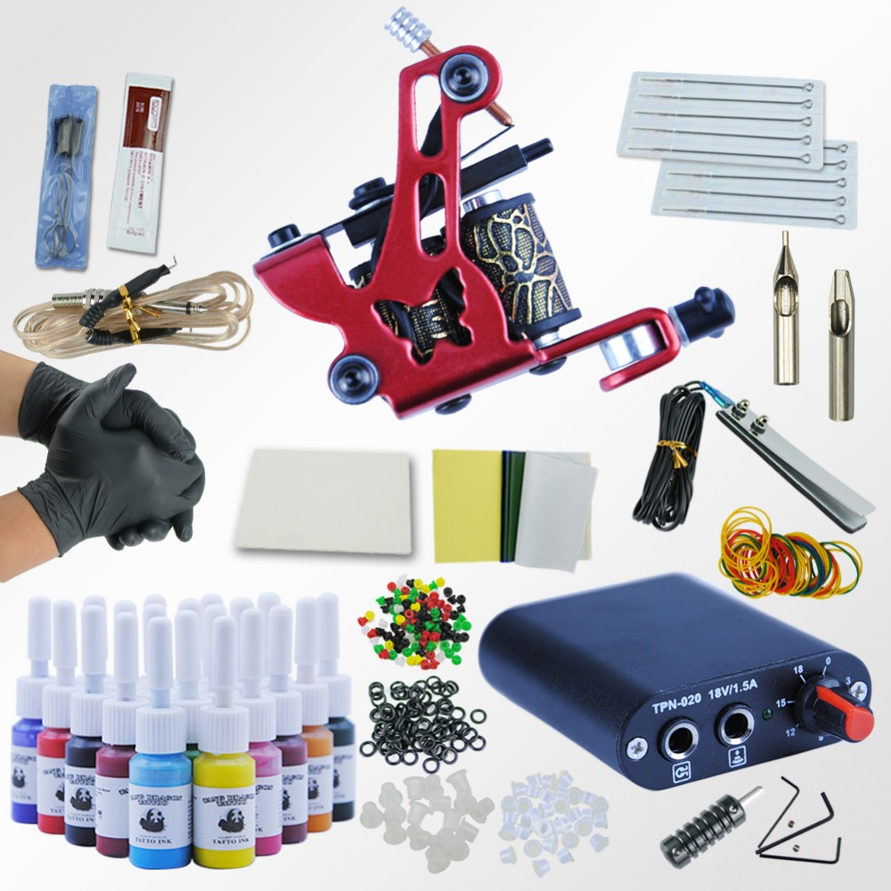 Tattoo Kit 20 Colors Tattoo Ink Sets Machines Set Black Power Supply Needles Permanent Make Up Professional Tattoo Kit Set tattoo kit completed permanent makeup 2 machines set professional tattoo machine set 10 colors tattoo ink sets permanent make up