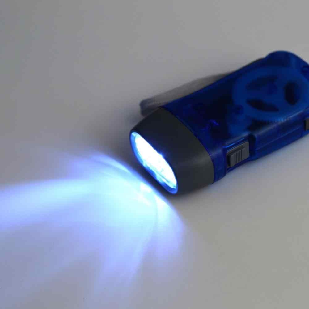 Novo 3 led mão pressionando dínamo manivela energia wind up lanterna tocha luz da imprensa mão manivela lâmpada de acampamento luz