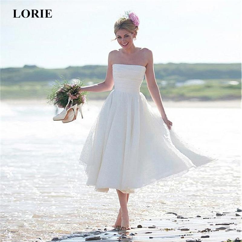 LORIE 2019 Simple Beach Short Wedding Dresses Elegant
