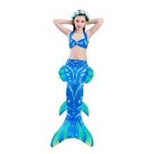 Kids Mermaid Costumes Swimsuit Bikini Girls Tail Finned Children Wear Split Swimwing