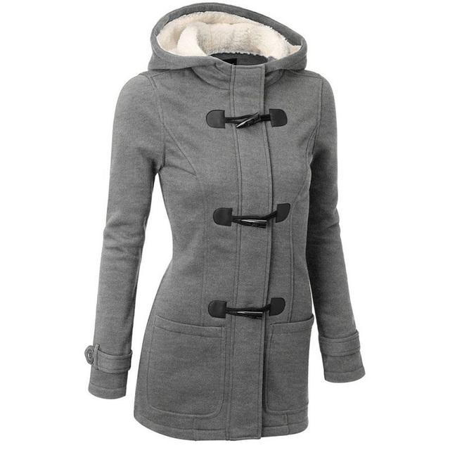 Escudo Fosa de las mujeres 2016 Mujeres del Otoño del Resorte Hembra Largo Abrigo de lana Botón de la Bocina Abrigo Con Capucha de la Cremallera Outwear