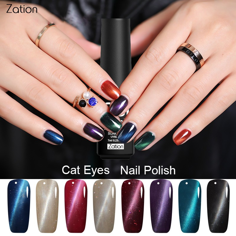 Zation 2018 Newest Magnetic Cat Eye Gel Nail Polish Magnet Bling ...