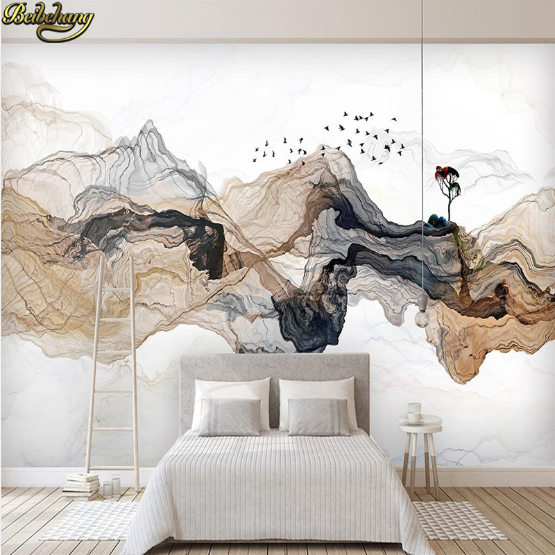 . US  8 85 41  OFF beibehang Custom Photo Wallpaper Abstract ink landscape TV  background Wall Covering Living Room Bedroom Home Decor 3D wall paper in