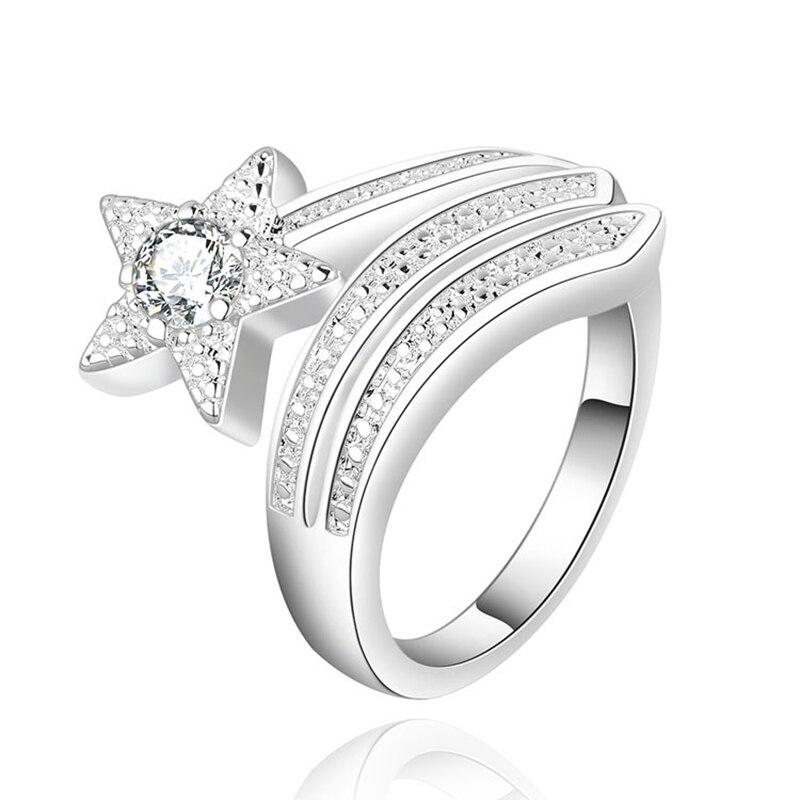 Anneau En Forme D'étoile à Cinq Branches Brillant Cristal Incrusté Zircon Unique Météore Design Anneaux Mode Argent Ouverture Réglable Bijoux