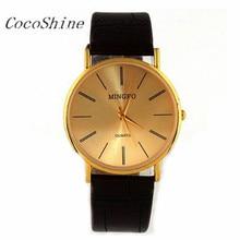 CocoShine A-711 Luxo Ouro Gentil Homem Homens Pulseira de Couro Relógio de Quartzo Relógios De Pulso por atacado Frete grátis