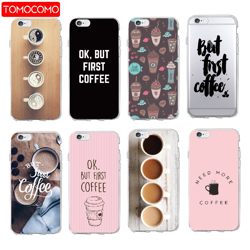 Methodical For Iphone 5s Se 6 6s 6plus 7 7plus 8 8plus X Xs Maxsamsung Ok But First Coffee Cappuccino Clear Soft Phone Case Cover Coque Comfortable And Easy To Wear Kids' Clothes, Shoes & Accs.