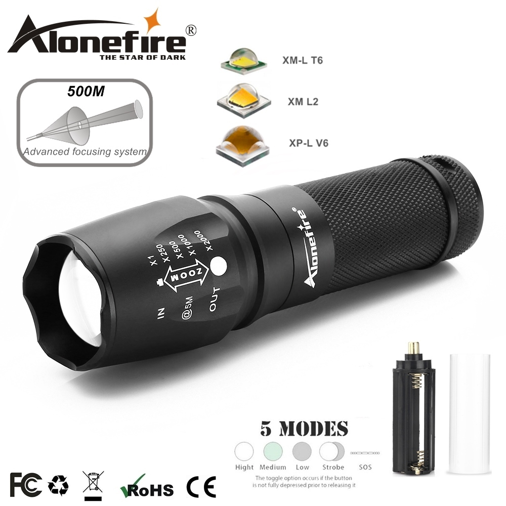 AloneFire X800 CREE Powerful NEW XP-L V6 T6 led Zoom flashlight 12W super bright Troch Home work for 18650 26650 LI-Ion battery