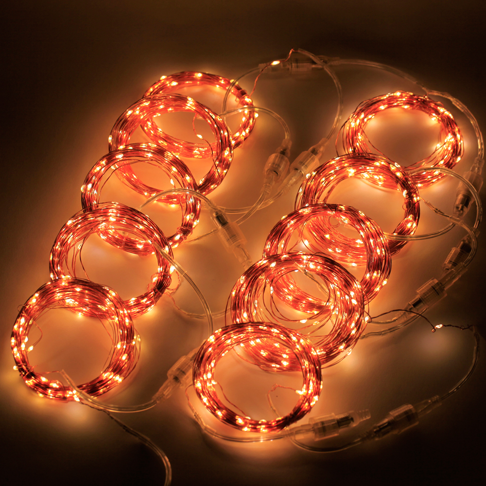 A String Of Holiday Lights Has 73 Light Bulbs In Series : 100M 1000 LEDs Outdoor Connectable Series Copper Wire Colors Light Lighting Christmas Starry ...