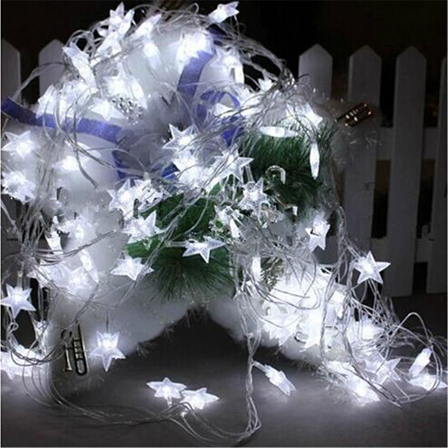 220v 10M 100 Led Garland String Lights Five pointed Star shape Fairy Lights for Wedding party patio Christmas decoration