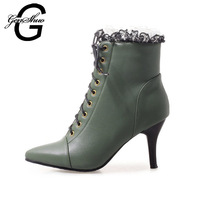 GENSHUO Sexy Prom Heel Lace Women Boots Retro Ankle Boots For Women Ladies Shoes Lace Up Stiletto Narrow Band SCross Tied hoes