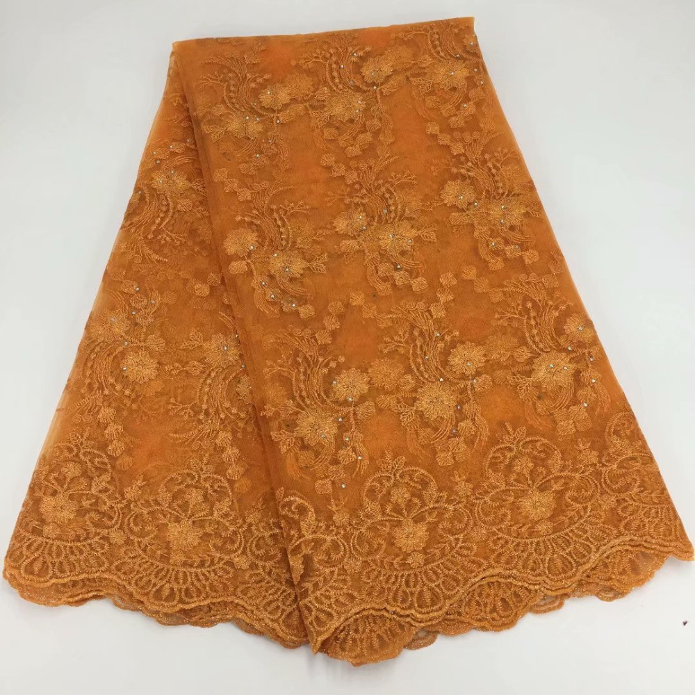 New French Lace Fabric With Stones Orange French Fabric Cheap African Lace French Lace Leaf Fabric