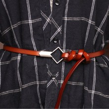 Newstyle Womens Cowskin Genuine  Red Leather Thin Belts Female Rhombic Silver Buckle Ladies Waist Belt For Dresses Waistband