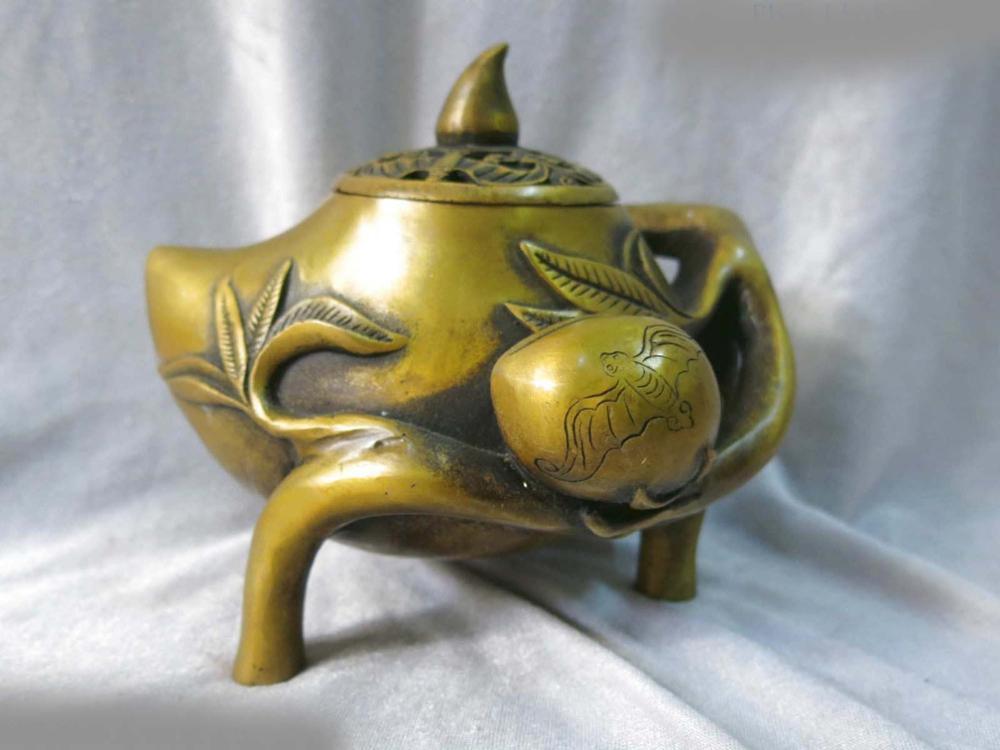 China Fine Pure Brass Copper Censer Carved Longevity Peach Bat Incense Burner ST
