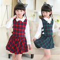 3 pcs Fashion Cotton Girl Skirt Set Design Plaid Skirt & Shirt & Vest Kids Girl Clothing Sets Trend Chidren Clothing Sets
