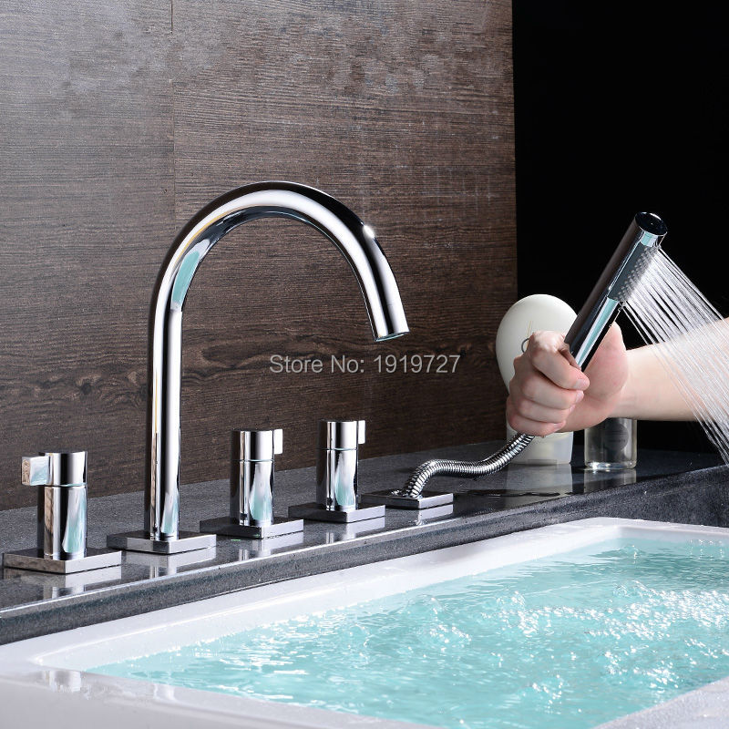 Bathtub Sink Round Style Gooseneck Water Outlet Faucet Shower Deck Mount Bath Tub Mixer Tap With Pull Out Handheld Shower Spray