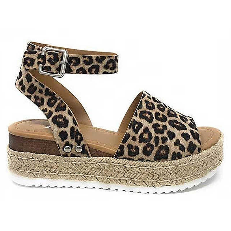 391556dd4e60 2019 New Style Summer Large Size Leopard Rome Sandals Hemp Thick Base With  Ladies Open Toe