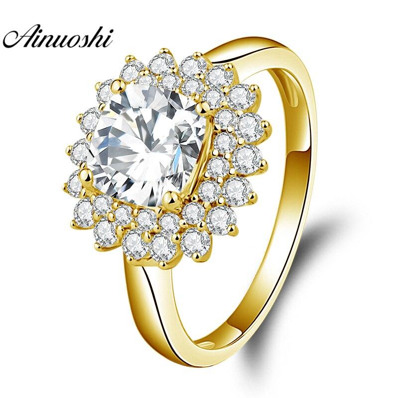 AINUOSHI 10K Solid Yellow Gold Square Halo Ring 1.5ct Cushion Cut SONA Diamond Ring Luxury Wedding Engagement Jewelry Women Ring
