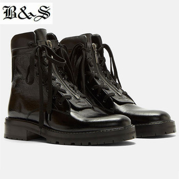 Black& Street dual laces with zipper designer genuine leather high top tooling black cowboy street cowhide boot