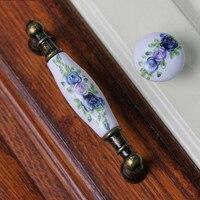 128mm 96mm Fashion Rural Ceramic Furniture Handles Blue Flower Porcelain Kitchen Cabinet Dreser Door Handles Bronze