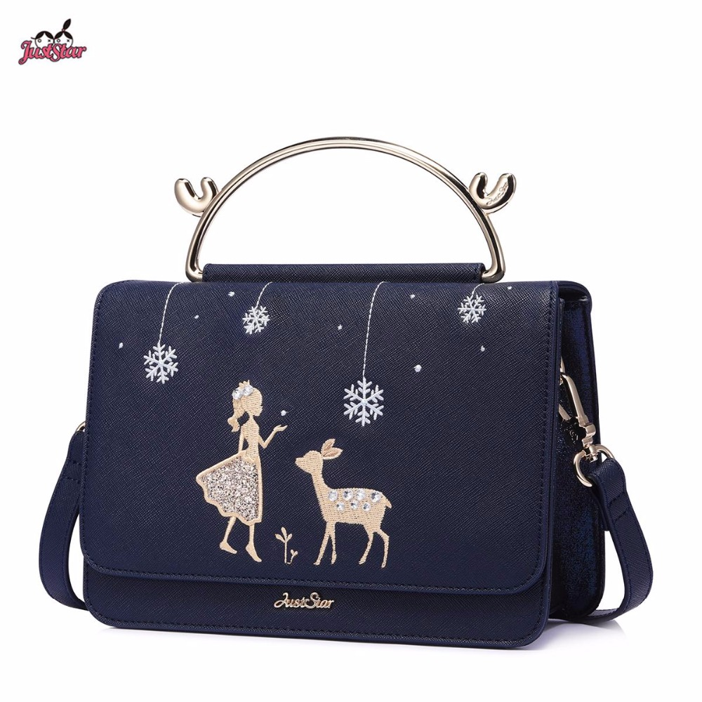 Just Star Brand New Design Fashion Antlers Handle Diamonds PU Leather Women's Handbag Ladies Girls Shoulder Cross body Flap Bag