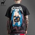 Aelfric Eden Men T Shirt Cool Heavy Metal Fashion Metallica Short Sleeve Male Print Electric Shock Rock Tie-dye Tee Shirts