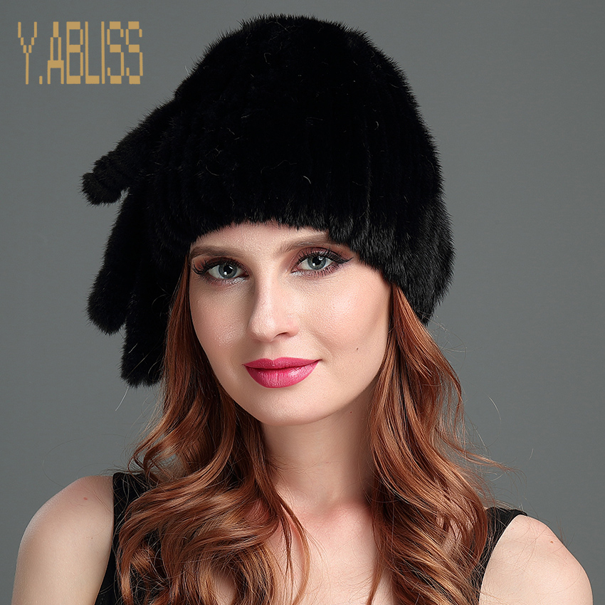 Winter Mink Fur Hats for Ladies with Tassel Real Mink Fur Knitted Hat Russian Outdoor Warm Natural Fur Cap Novelty Style Fur Hat cx c 12a genunie mink fur ladies fashion hats drop shipping