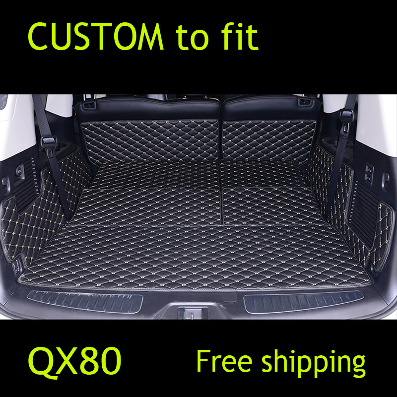 CUSTOM  Cargo Liner car trunk mat carpet interior leather mats pad car-styling for Infiniti QX56 QX80 QX70 QX60 custom cargo liner car trunk mat carpet interior leather mats pad car styling for dodge journey jc fiat freemont 2009 2017