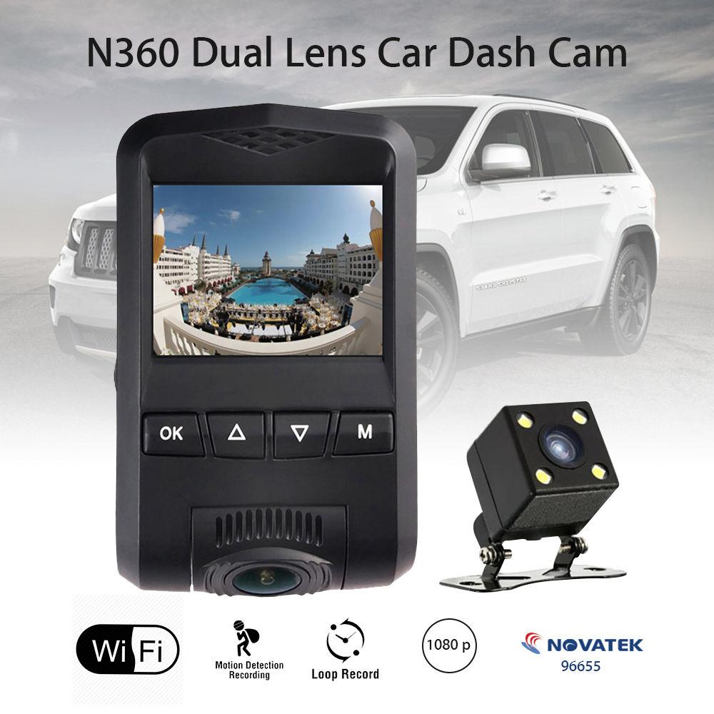 N360 Wifi HD 1080P Dual Lens Car Dash Camera DVR Vehicle Video Recorder Cam Novatek Motion Detect WDR 170 Degree Wide Angle