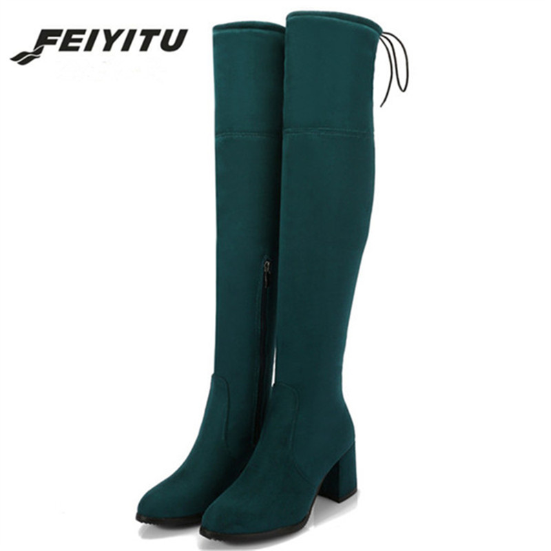 Over The Knee Boots Fe Flat Shoes on Plush Woman Boots Elasticity Warm Fabric Boots