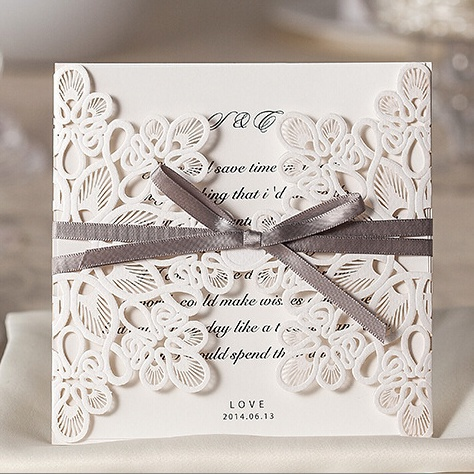 100pcs lace hollow wedding invitations 2016 elegant ivory 100pcs lace hollow wedding invitations 2016 elegant ivory traditional wedding invitation cards with bow cheap bridal stopboris Image collections