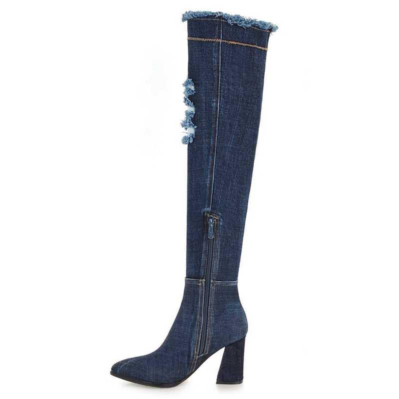 REAVE แมว Botas mujer เข่ารองเท้าผู้หญิงฤดูใบไม้ผลิฤดูใบไม้ร่วงฤดูหนาวชี้ toe สีดำซิป Denim แฟชั่น Casaul a1458