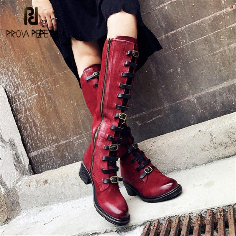 Prova Perfetto/модные женские сапоги до колена в стиле ретро, Ботинки martin, женские осенне зимние высокие сапоги с ремешком на платформе, Женская ре