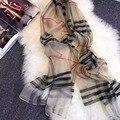 Luna&Dolphin Fashion bandana Luxury Brand Scarve Women Big Plaid Pure Real Silk Pure Wool Scarf Women Shawl High Quality
