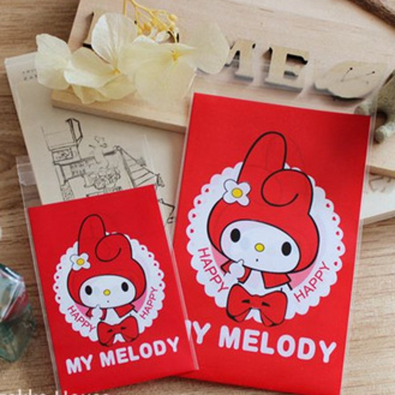 100pcs 7*10+3cm OPP Red Cute MELODY Biscuits Candy Cookie Snack Baking Bag Self Adhesive Seal Plastic Gift Packaging Bag B119