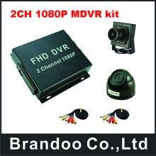 2CH 1080 P Мобильный DVR + 1 шт. купол AHD камера + 1 шт. широкоугольный AHD камеры