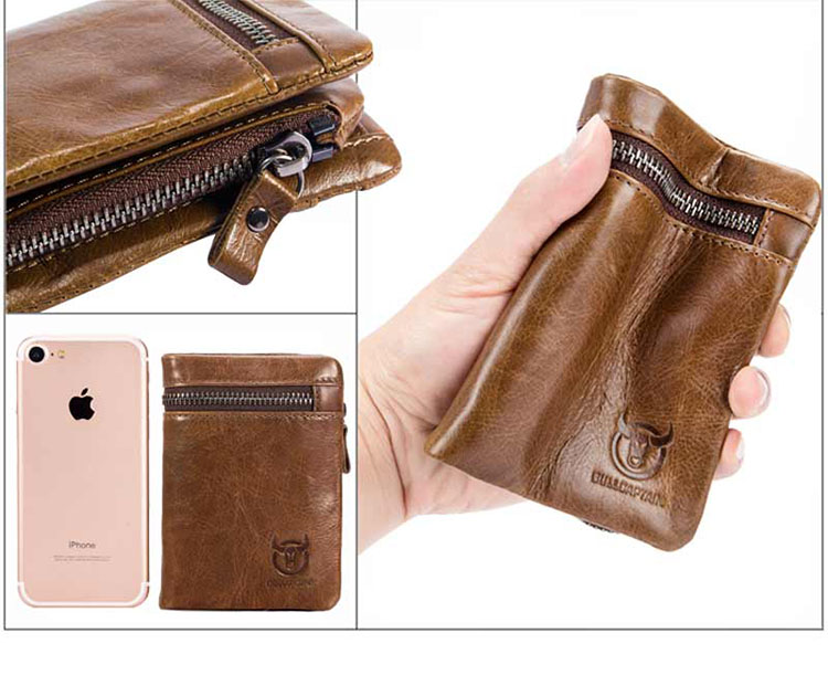 Topdudes.com - Top Men's High Quality Genuine Leather Short Wallet with  ID Credit Cards Holder & Coin Zipper Pocket