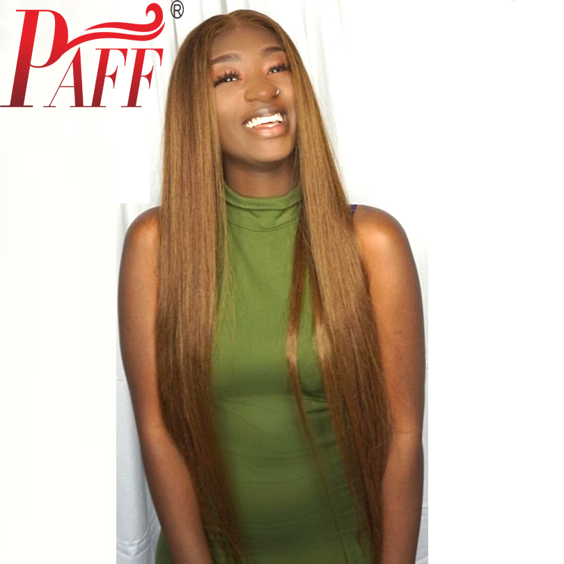 PAFF Blonde Lace Front Human Hair Wig Straight Peruvian Remy Hair Wig Pre Plucked Bleached Knots