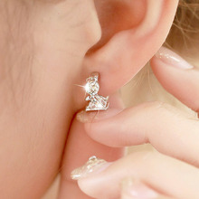 Fashion Angel Design 925 Sterling silver Stud Earrings Luxury Double Crystal Earring For Women Silver Jewelry